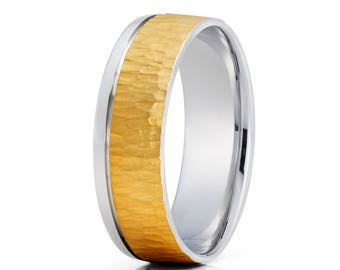 Wood Grain Design Yellow Gold Wedding Band Men & Women Gold Wedding Ring Anniversary Band Two Tone Ring Comfort Fit