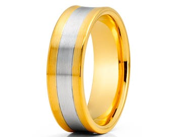 Concave Design Gold Wedding Band 14k Yellow Gold Wedding Ring Two Tones Men & Women Wedding Ring Anniversary Ring