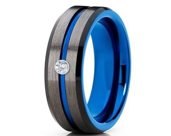 Blue Tungsten Wedding Band Gunmetal Tungsten Ring Men & Women Tungsten Carbide Ring Anniversary Band Comfort Fit Black