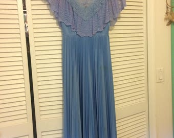 Vintage Blue 80s Formal Lace Pleated Gown
