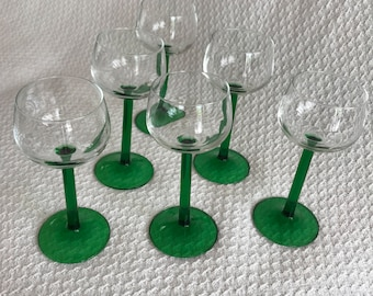 Vintage Luminarc Emerald Wine Glasses