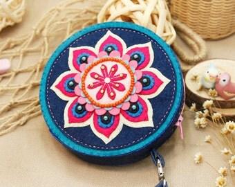 DIY Kit Lotus Felt Round Bag / Coin purse / Handbag