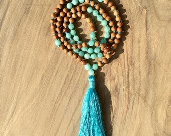 Necklace Mala 108 beads 6 mm amazonite and sandalwood, long necklace Hindu/Buddhist for yoga and meditation