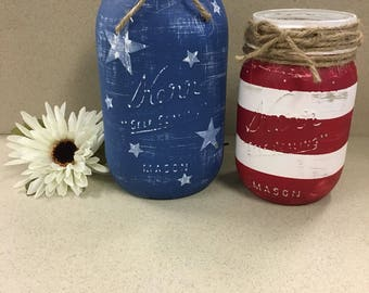 American Flag Mason Jar Decor, Patriotic Decor, Rustic Decor, Farmhouse Decor, Patriot, Veteran Gift, USA Decor, USA Flag, American Flag
