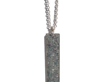 Drop pendant, drop necklace, bar pendant, pendant necklace, boho, under 20 dollars, geode pendant, druzy, rectangle pendant, silver druzy