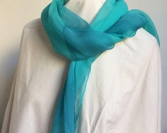 Sea Abstract geometric Hand printed one off silk chiffon scarf wearable art turquoise, aqua, light blue