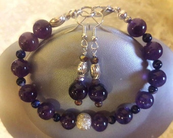 "7.5"" Amethyst bracelet and matching earring"