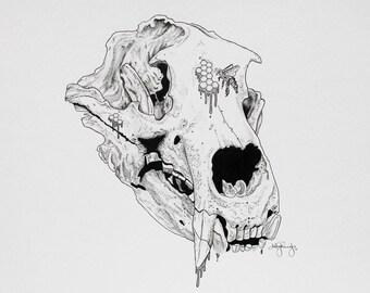 Honeycomb Skull Pen & Watercolor Print
