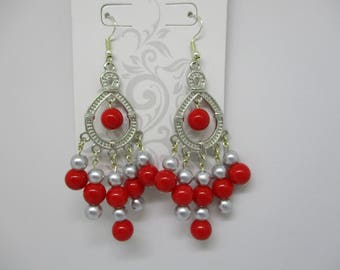 SALE!!! Red Beaded Chandelier Earrings