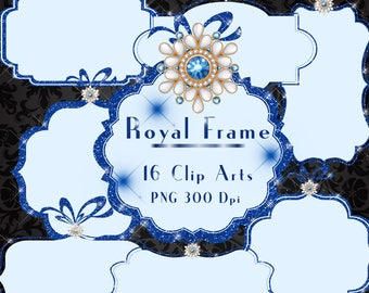 Blue Royal Frame, Glitter and Jewelry Frame Clipart, Glitter Frame for Royal, Christmas, Instant download,Commercial Use, Planner Clipart