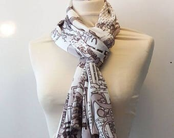 Golden brown graphic scarf