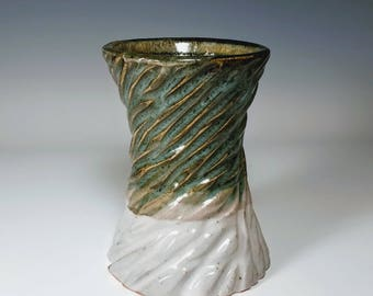 Green Ceramic Vase / Ceramic Flower Vase / Carved Vase / Textured Vase / Crackle Vase / Handmade Ceramic Vase