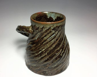 Brown Ceramic Mug / Speckled Mug / Carved Mug / Textured Mug / Unique Mug / Handmade Mug / Pottery Mug