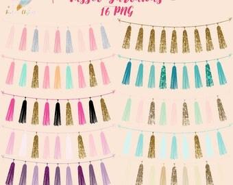 Tassel garlands, tassels clipart, garland clip art, wedding tassels, party tassels, gold glitter clipart, turquoise tassels, blush clip art