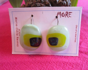 Jade green and yellow glass with black inclusion metallic Stud Earrings