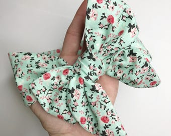 Teal with red flowers baby turban headwrap ideal for spring this one size bow headband fits new born toddler girls and adults