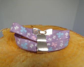 Purple grosgrain with busy Pearl double bracelet girl Ribbon