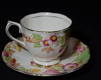 ROYAL ALBERT, Bouquet, Footed, Teacup and saucer, 2509, hand painted, flowers, Gold Rimmed, England, Vintage, Bone China, MINT, Floral
