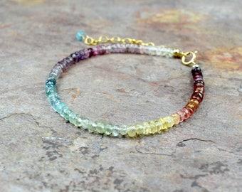 Rainbow Aquamarine & Spinel 14k Gold Filled Bracelet, Multi Gemstone Bracelet, Multicoloured Jewellery, Handmade Gemstone Jewelry, Wife Gift