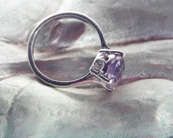 Amethyst Solitaire Ring Sterling Silver/Vintage/ Handmade/February Birthstone/Basket Setting/Rhodium Plated/Free Shipping US