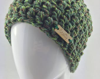 Beanie toque hat teen adult green bulky