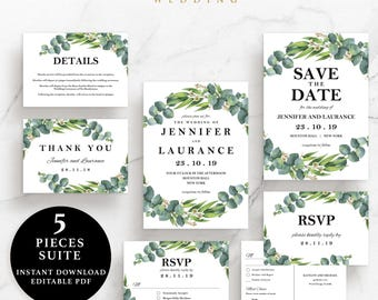 Green Leaves Wedding Suite, Invitation, Save the Date, RSVP, Thank You Card, Details Card, Instant Download Printable, EWSU002