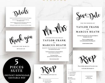 Simple Wedding Suite, Invitation, Save the Date, RSVP, Thank You Card, Details Card, Instant Download Printable, EWSU006