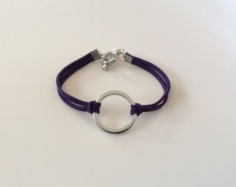 Bracelet in silver and suede ties