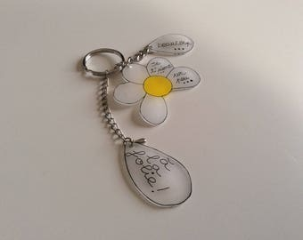 Door key or jewelry bag Daisy yellow and transparent.