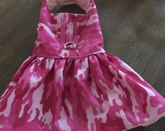Cute Pink Camo   dog dress .  The fall weather is coming and so are the  new fall fashions for your fur baby. Get yours today.