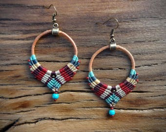 macrame earrings, gipsy boho style, handcrafted earrings, leather earrings