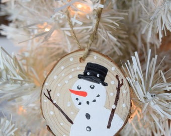 Snowman Hand Painted Wooden Christmas Ornament