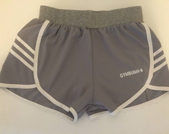 REDUCED PRICE CLEAROUT GymBum Grey & White Stripe Workout Shorts