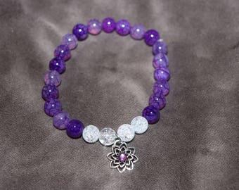 Purple and White Beaded Bracelet, Flower bracelet, Flower Jewelry, Purple Bracelet, Womens Beaded Bracelet, Gifts for her, Flower Power