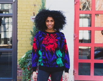 Vintage Acrylic Sweater - Maggie Jana Geometric Pullover with Colorful Pattern - Warm Winter Ladies Women's Sweater