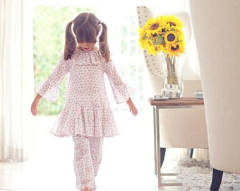Girls Pajamas . Girls Floral Pink Pajama . Girls Floral Pink Sleepwear . Girls Pajama Party . Girls Cotton Pajama . Girls Cotton Sleepwear
