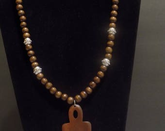 Brown beaded Ankh necklace