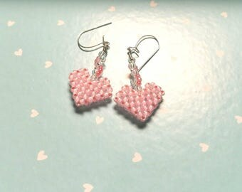 Pink Heart Beaded Earring with Sterling Silver Hooks