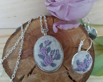 Embroidery jewelry set Purple mother gift Floral pendant Eco Wife purple jewelry Second anniversary Flower wife necklace Embroidered earring
