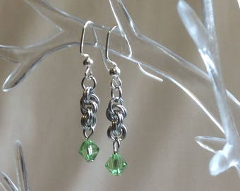 Double Spiral Chain Mail Earrings with Peridot Swarovski Crystal