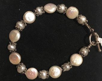Coin Pearl, Freshwater Pearl, and Sterling Silver Bracelet