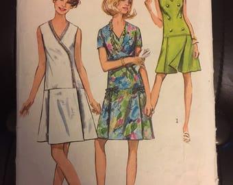 Simplicity 8849 Women's drop waist dress Pattern size 18 1/2 Bust 41 - 1970's Pantdress