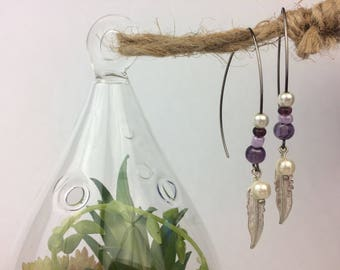 Purple Pearl Wire Earrings