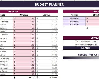 Monthly Budget - Digital Excel Planner Template Spreadsheet - Calendar