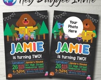 Hey Duggee invitation, Hey Duggee blackboard invitation, Hey Duggee Party, Hey Duggee Photo Invitation, Hey Duggee Birthday, Toddler Party