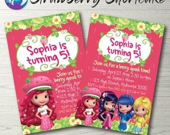 Strawberry Shortcake Invitation, Strawberry Shortcake Birthday Party, Strawberry Shortcake Invite, Strawberry Shortcake Party Printable
