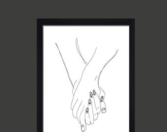 Line Drawing Holding Hands : Feet drawing etsy