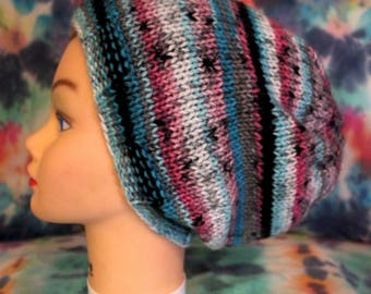 Pink and Blue Knit Hat