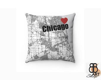 Chicago Throw Pillow, Decorative Pillow, Chicago Decor, Chicago Throw Pillow, Chicago Map Art, Chicago City Map Cushion, Chicago fan Gift