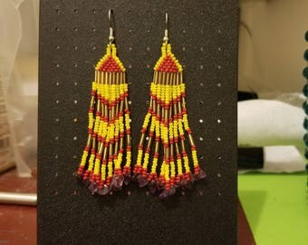 Red & yellow diamond beaded earrings with amithyst chips